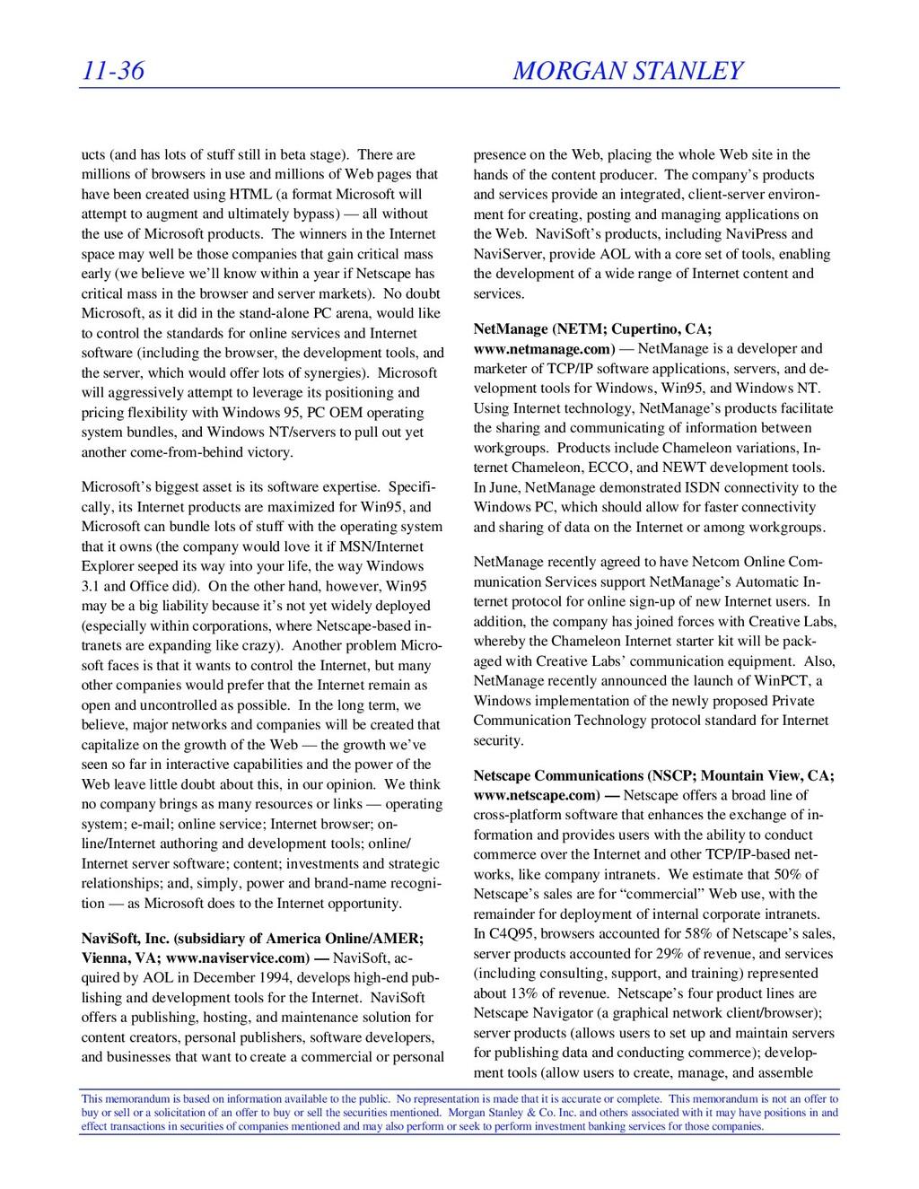 11-36 MORGAN STANLEY This memorandum is based o...