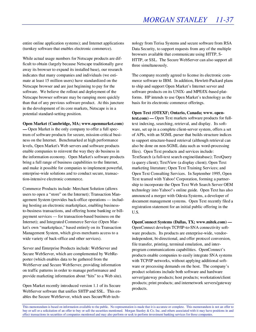 MORGAN STANLEY 11-37 This memorandum is based o...