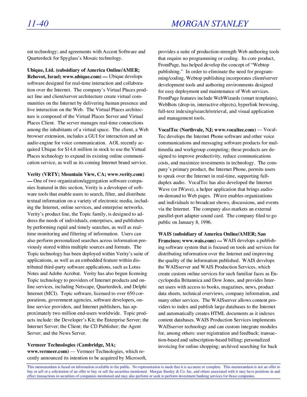 11-40 MORGAN STANLEY This memorandum is based o...
