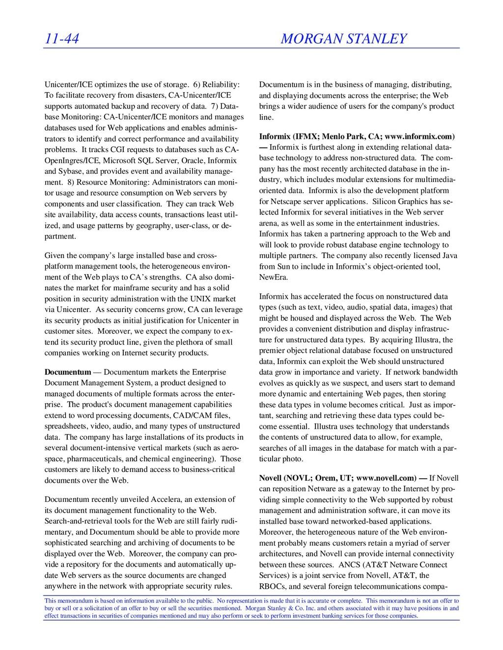 11-44 MORGAN STANLEY This memorandum is based o...