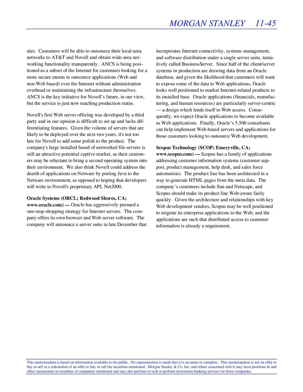 MORGAN STANLEY 11-45 This memorandum is based o...