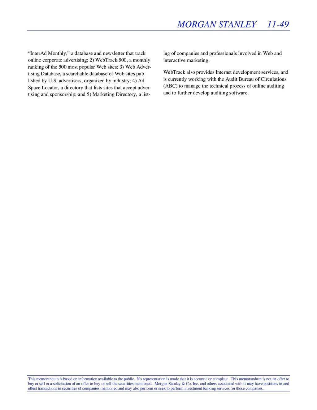 MORGAN STANLEY 11-49 This memorandum is based o...