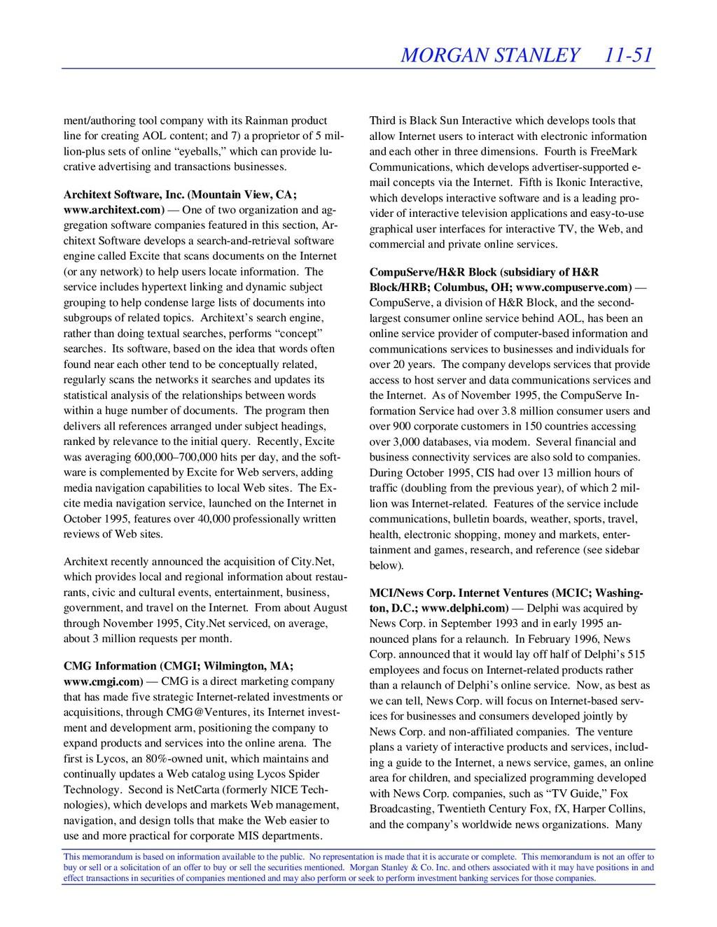 MORGAN STANLEY 11-51 This memorandum is based o...