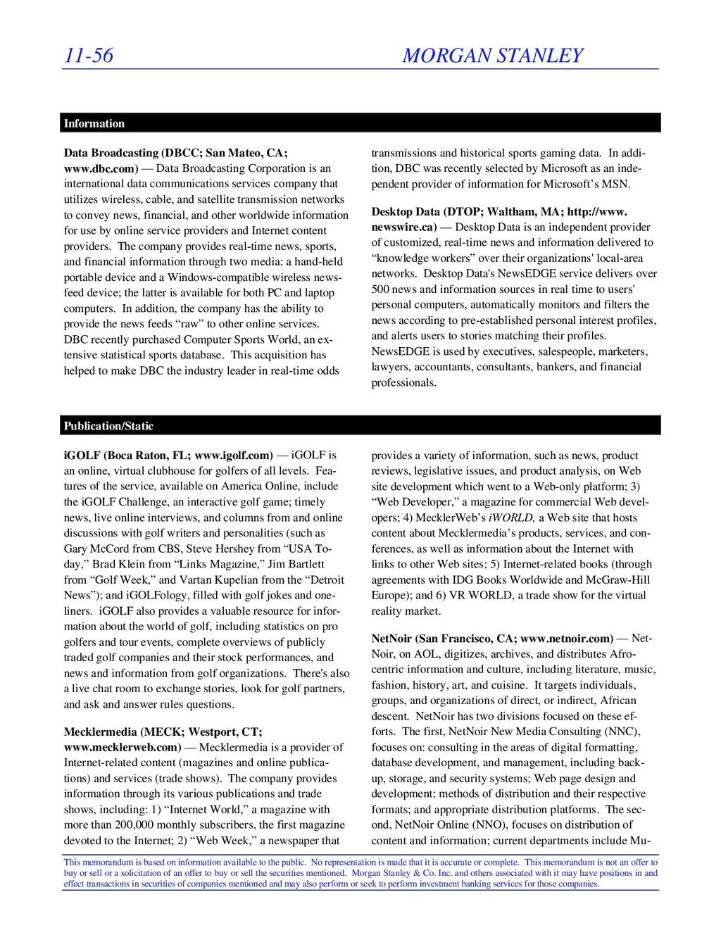11-56 MORGAN STANLEY This memorandum is based o...