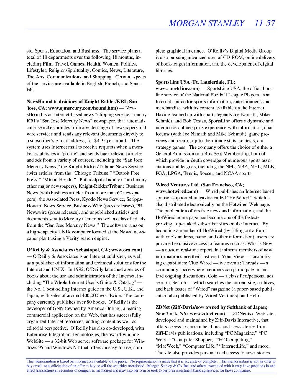 MORGAN STANLEY 11-57 This memorandum is based o...