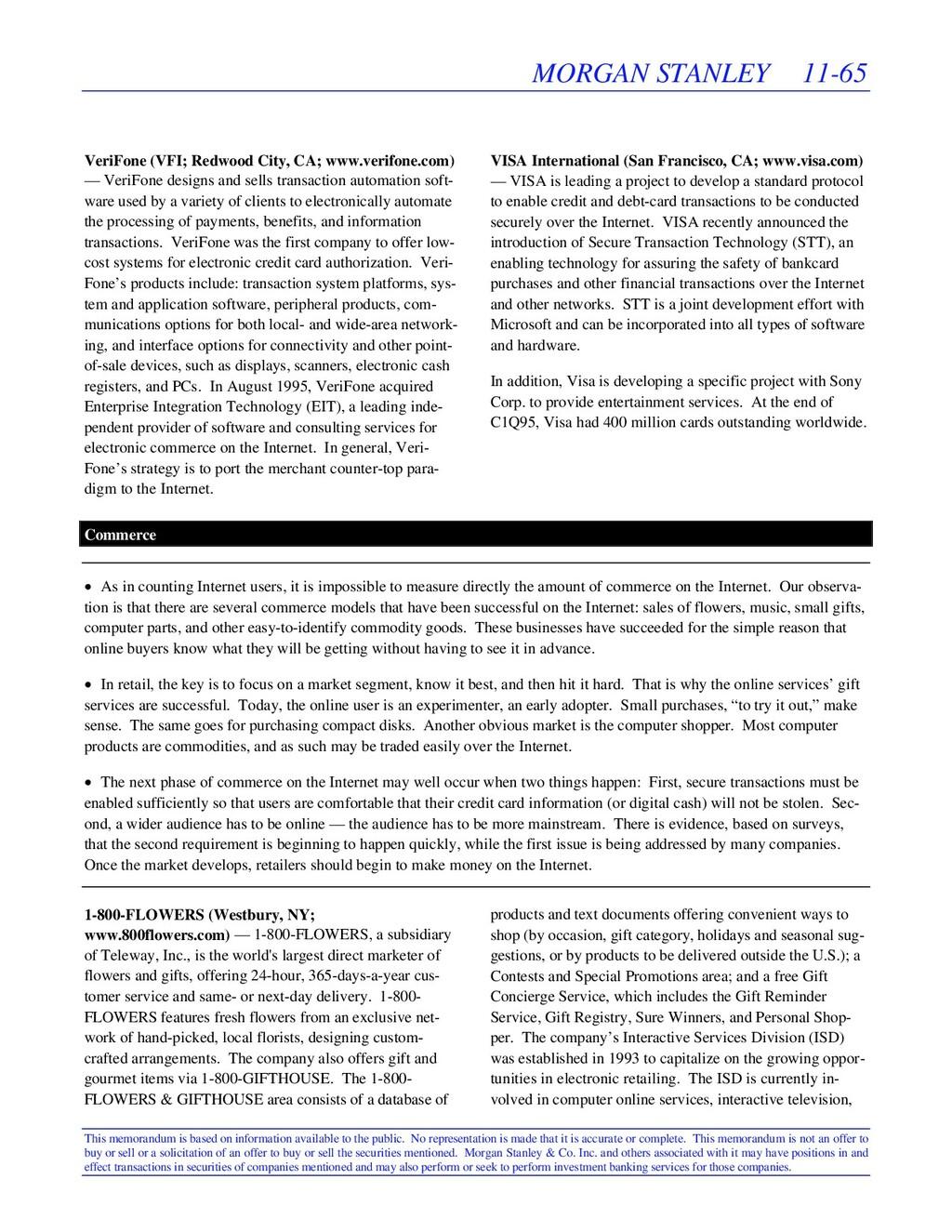 MORGAN STANLEY 11-65 This memorandum is based o...