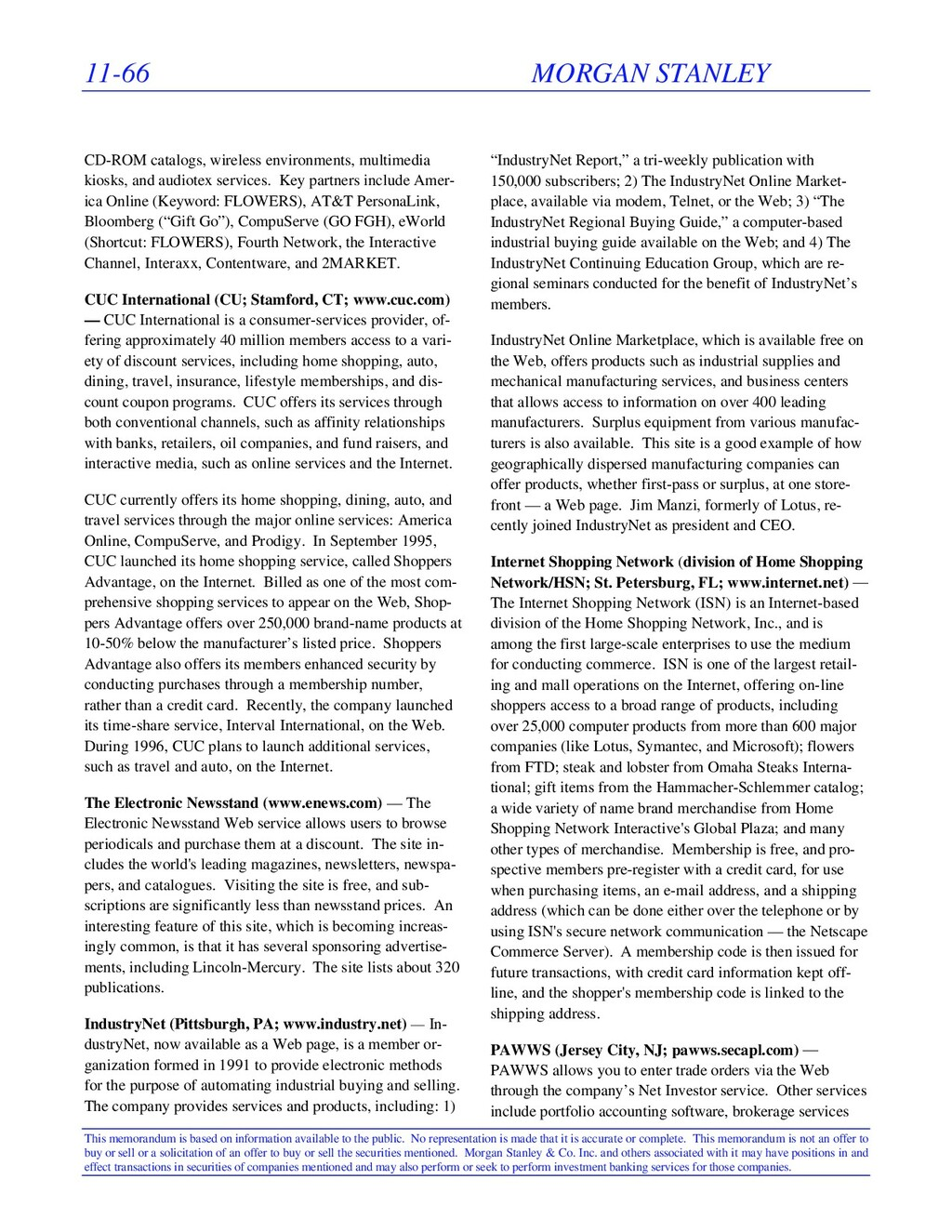 11-66 MORGAN STANLEY This memorandum is based o...