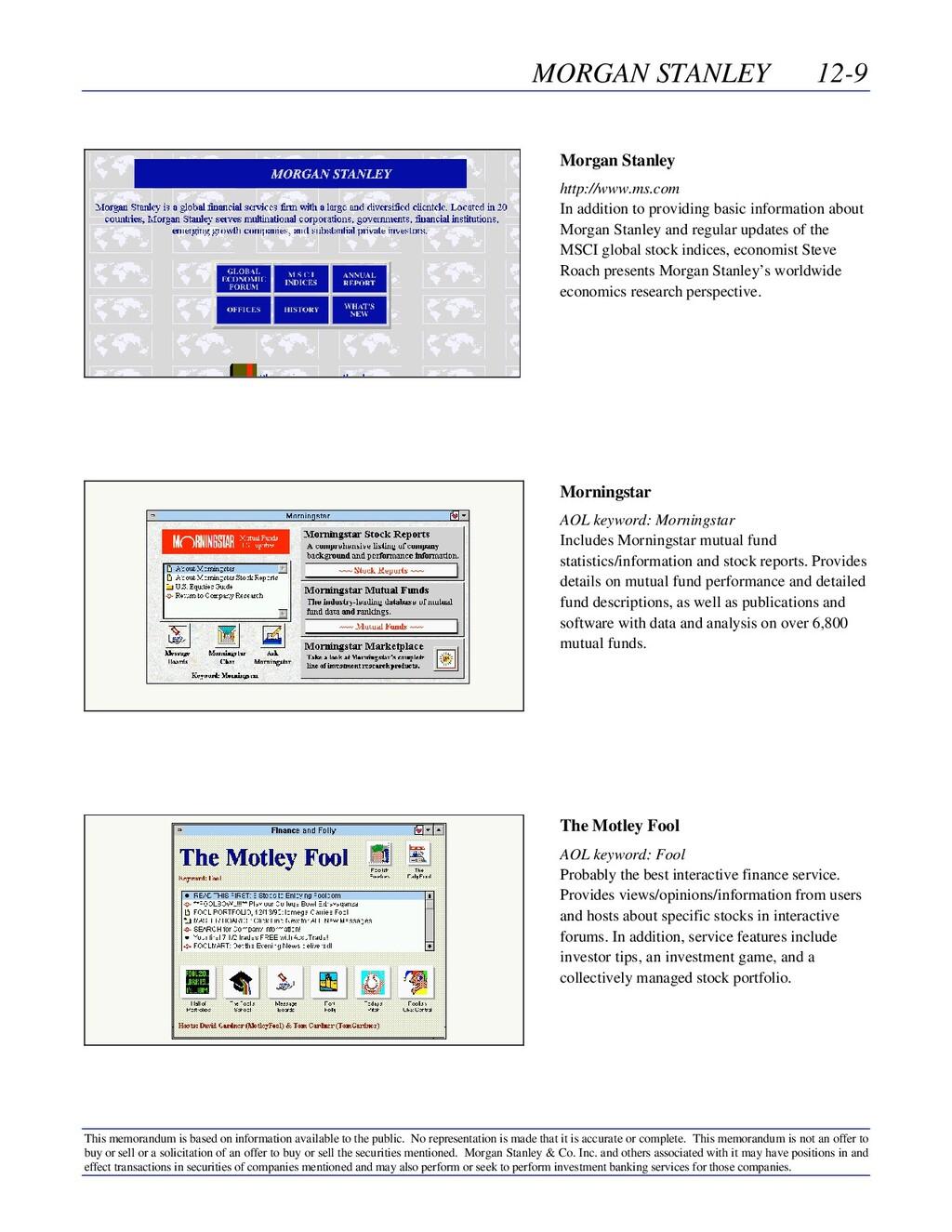 MORGAN STANLEY 12-9 This memorandum is based on...