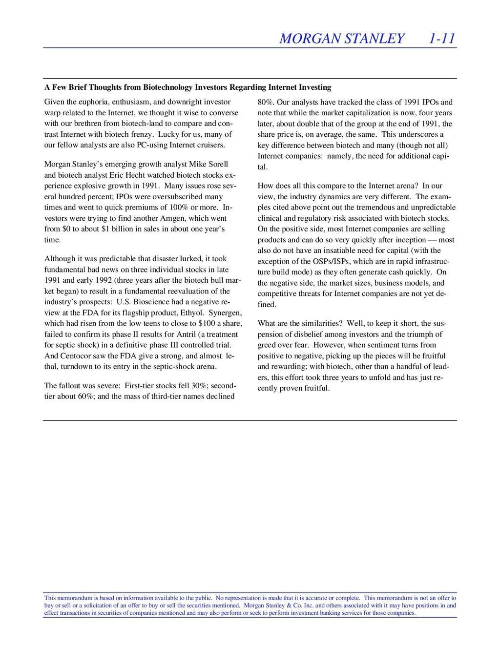 MORGAN STANLEY 1-11 This memorandum is based on...