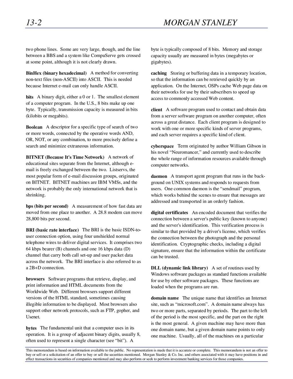 13-2 MORGAN STANLEY This memorandum is based on...