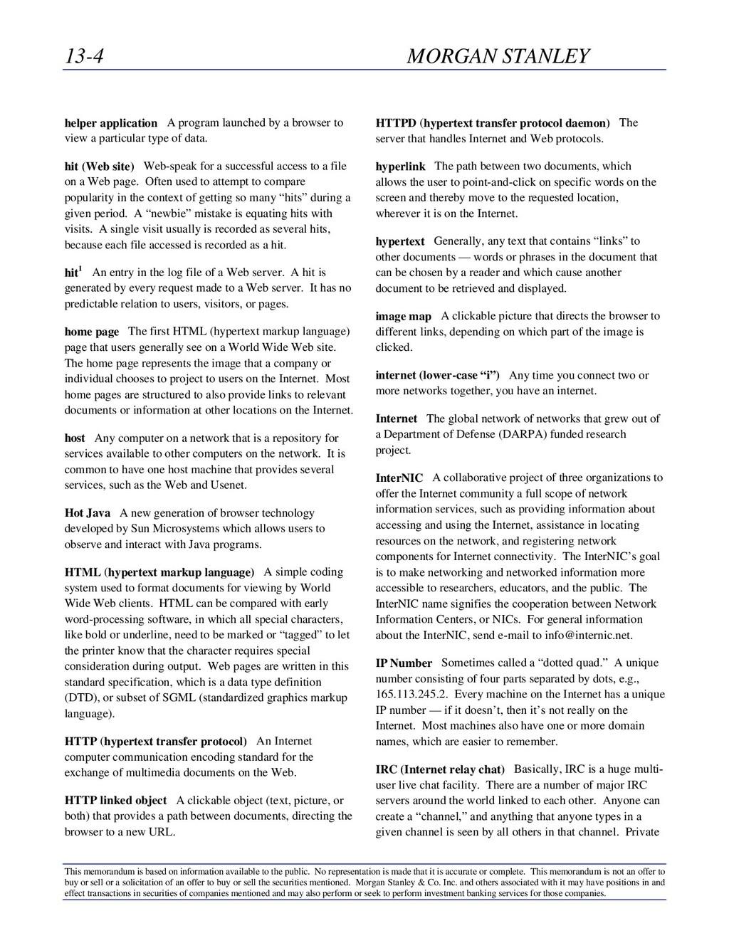 13-4 MORGAN STANLEY This memorandum is based on...