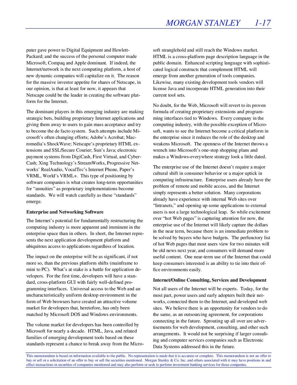 MORGAN STANLEY 1-17 This memorandum is based on...