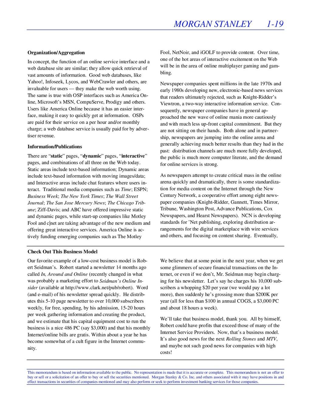 MORGAN STANLEY 1-19 This memorandum is based on...