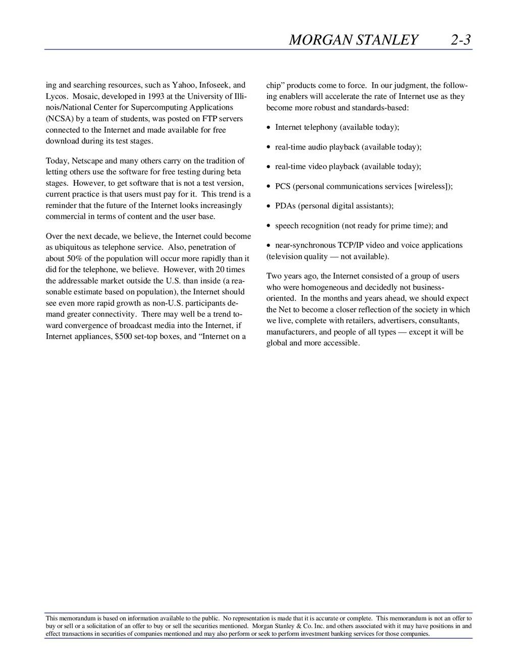 MORGAN STANLEY 2-3 This memorandum is based on ...