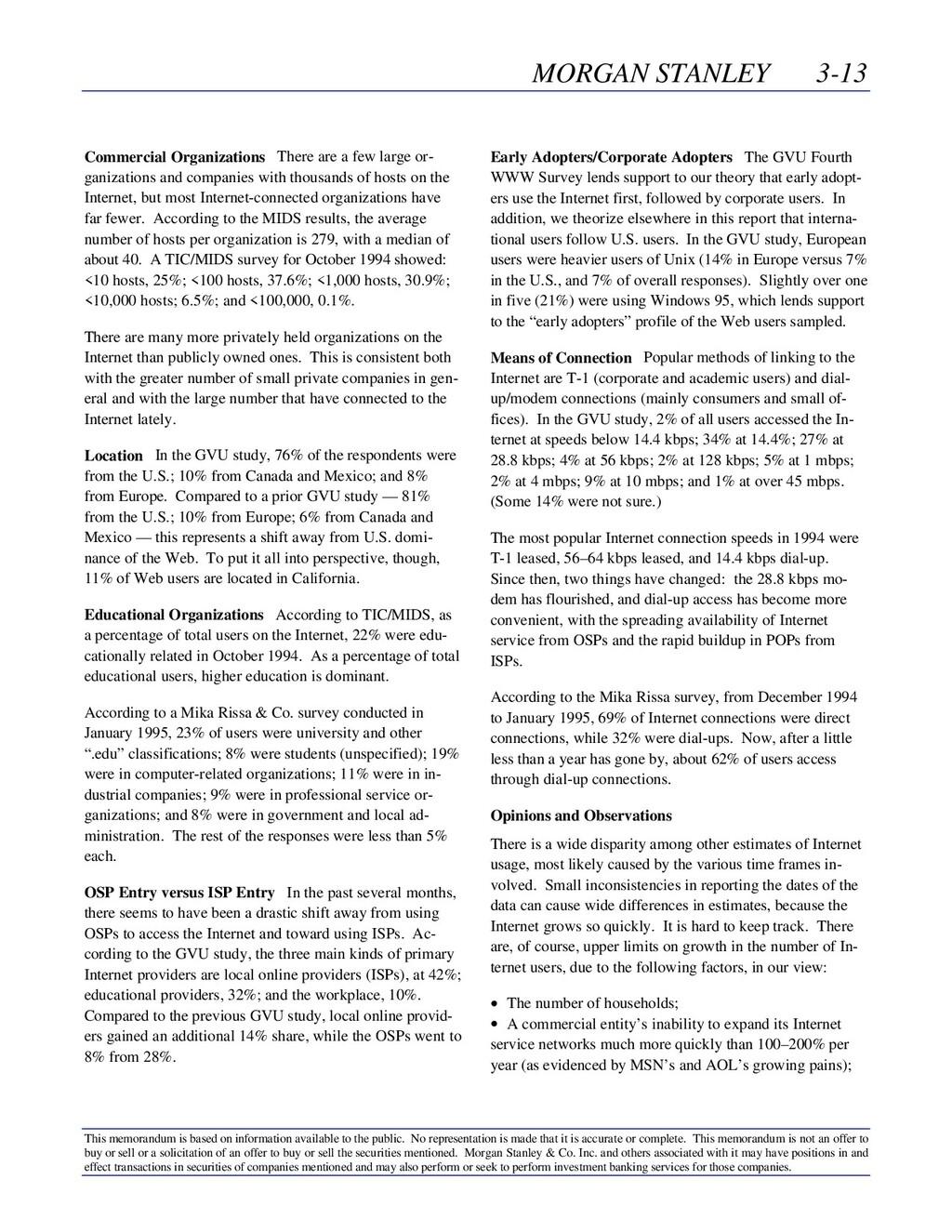 MORGAN STANLEY 3-13 This memorandum is based on...