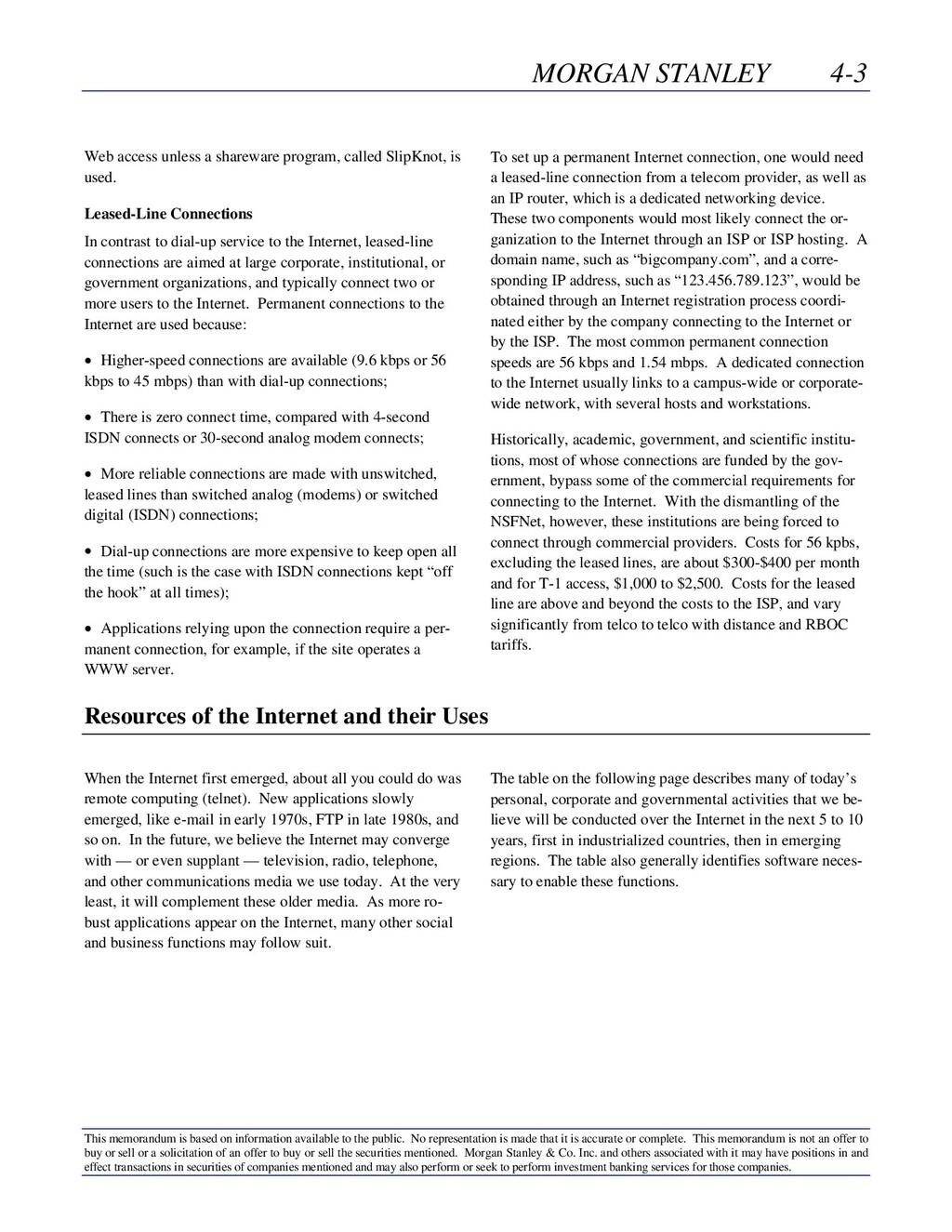 MORGAN STANLEY 4-3 This memorandum is based on ...