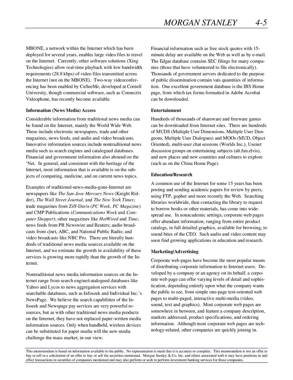 MORGAN STANLEY 4-5 This memorandum is based on ...