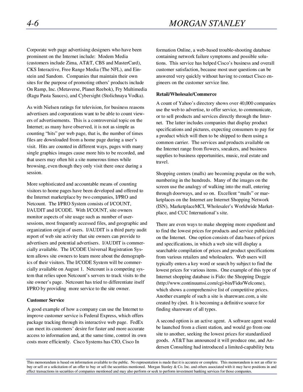 4-6 MORGAN STANLEY This memorandum is based on ...