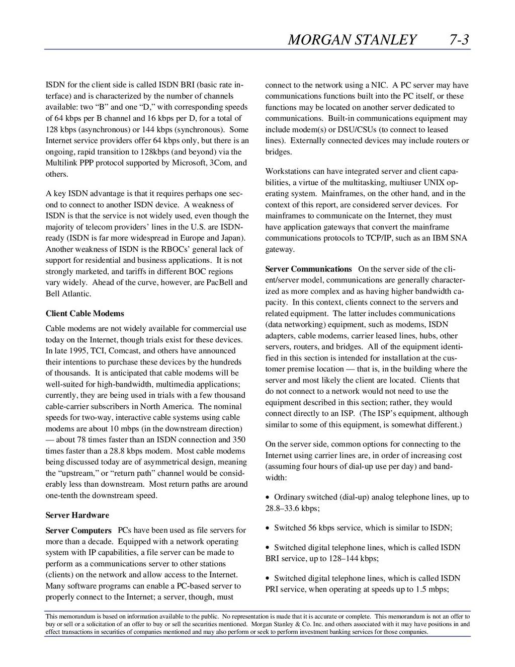 MORGAN STANLEY 7-3 This memorandum is based on ...