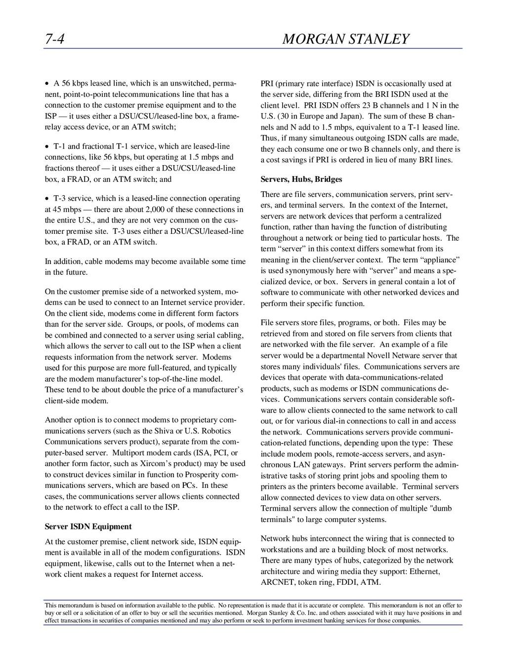 7-4 MORGAN STANLEY This memorandum is based on ...