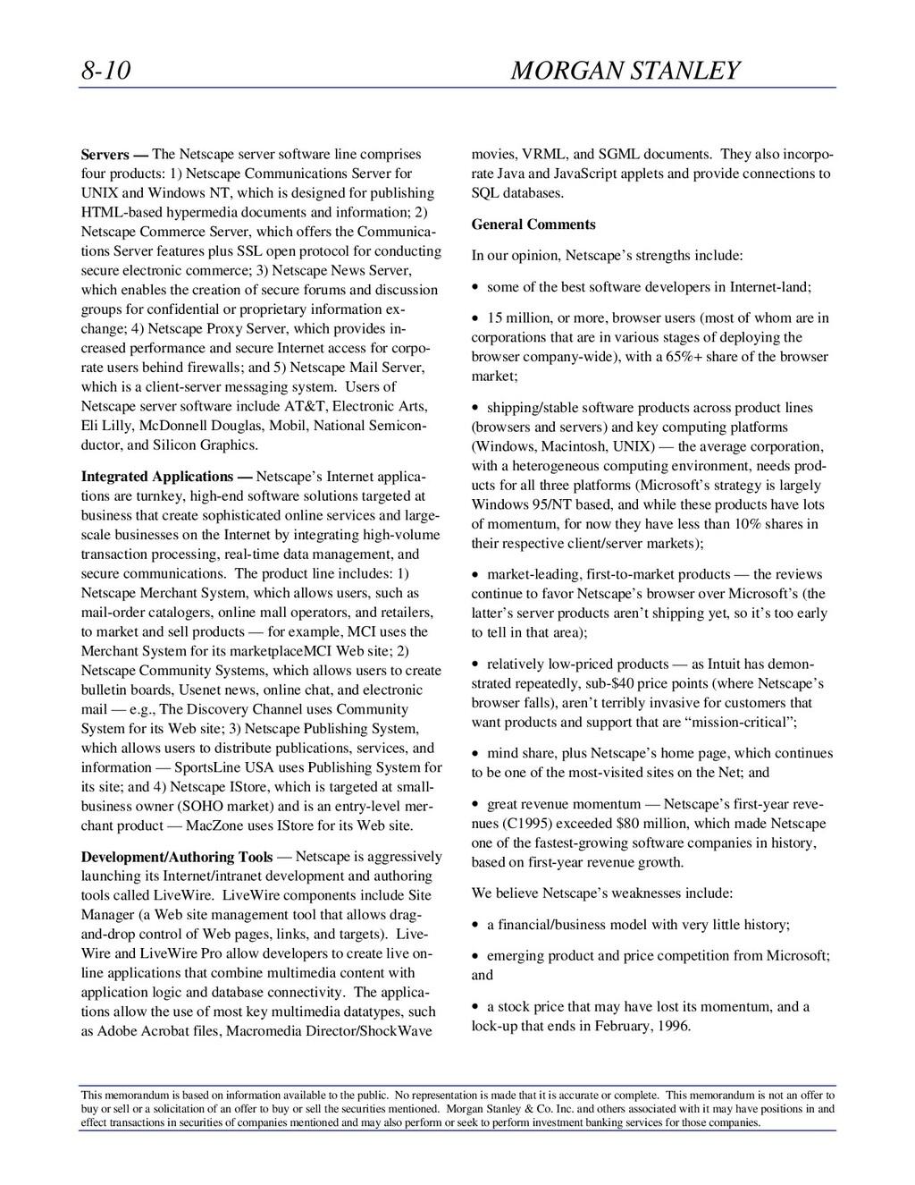 8-10 MORGAN STANLEY This memorandum is based on...