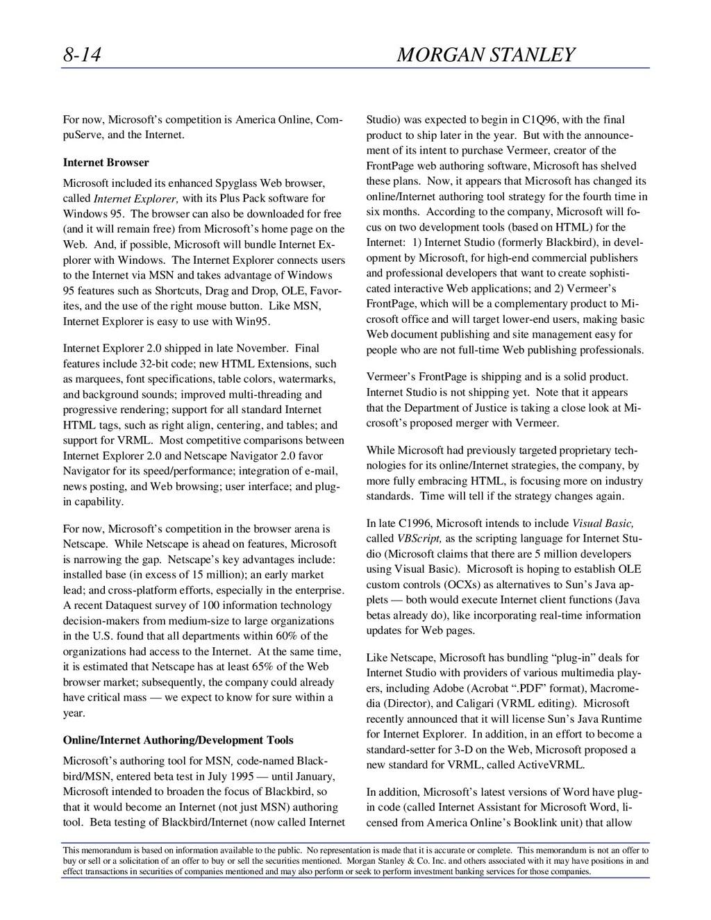 8-14 MORGAN STANLEY This memorandum is based on...