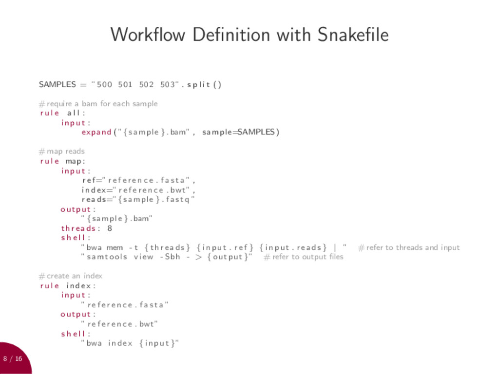 8 / 16 Workflow Definition with Snakefile SAMPLES ...