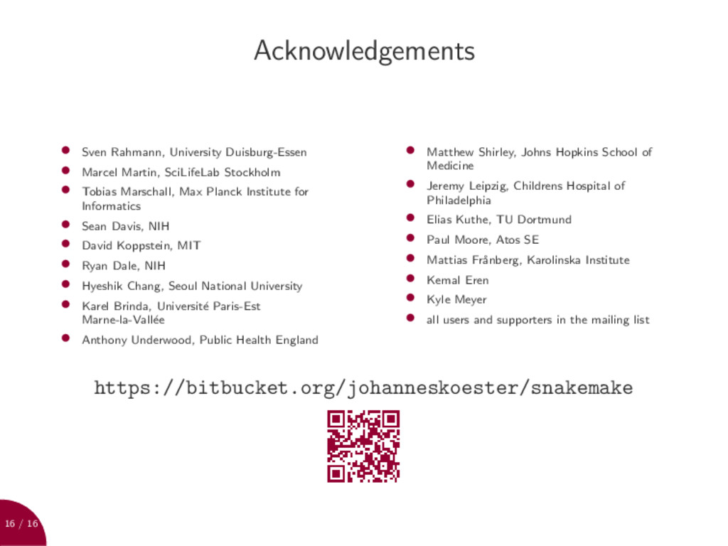 16 / 16 Acknowledgements • Sven Rahmann, Univer...