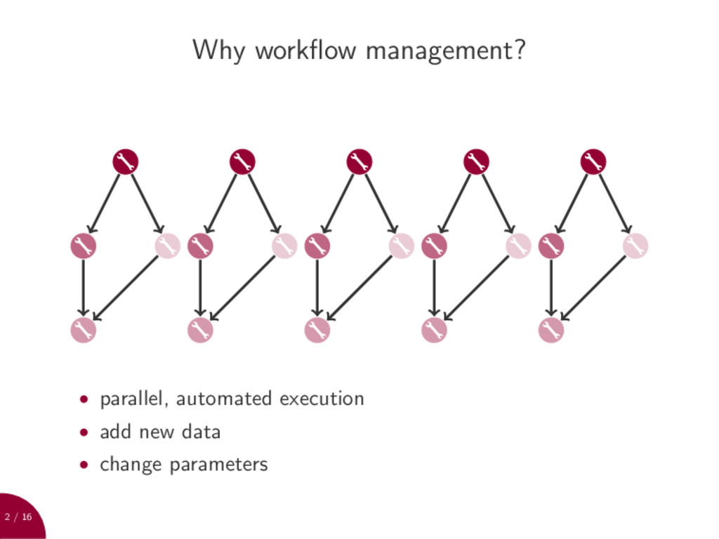 2 / 16 Why workflow management? • parallel, auto...