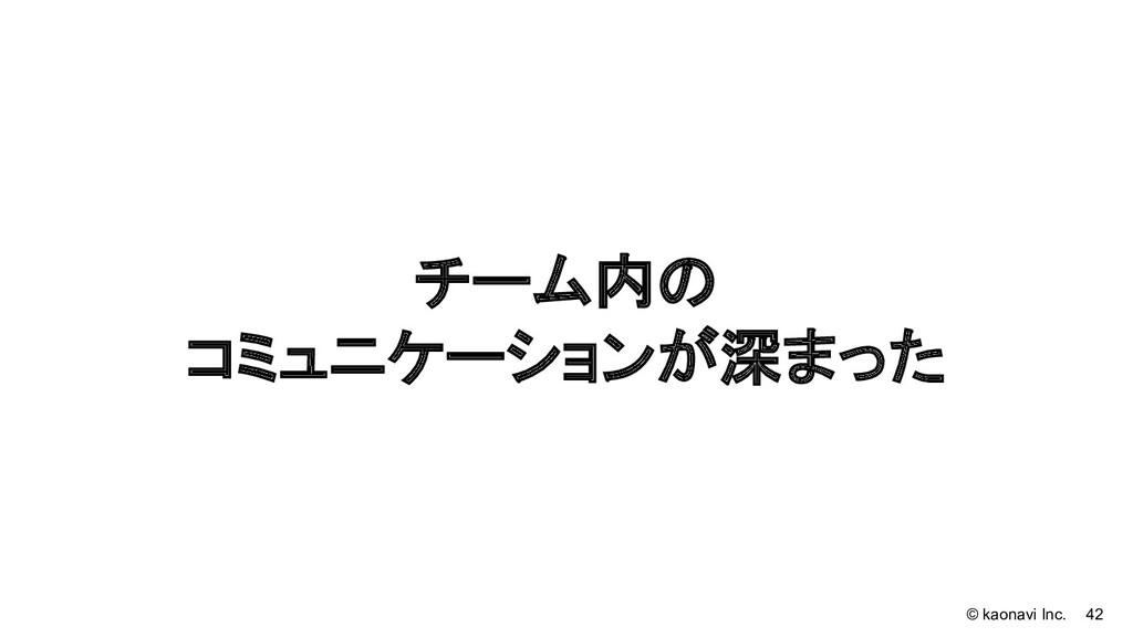 © kaonavi Inc. 42 チーム内の コミュニケーションが深まった