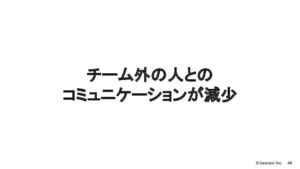 © kaonavi Inc. 46 チーム外の人との コミュニケーションが減少