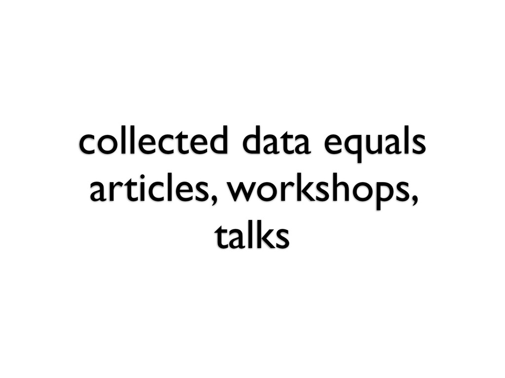 collected data equals articles, workshops, talks