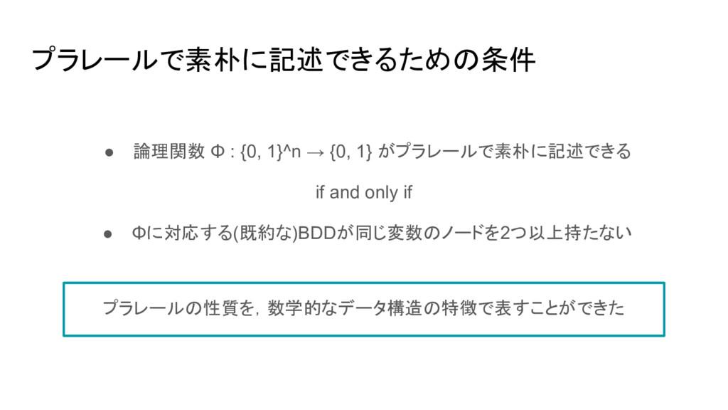 プラレールで素朴に記述できるための条件 ● 論理関数 Φ : {0, 1}^n → {0, 1...
