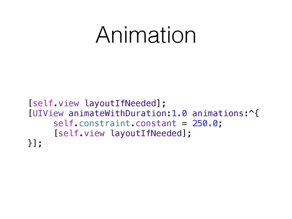 Animation [self.view layoutIfNeeded]; [UIView a...