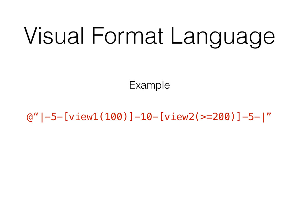 Visual Format Language @"