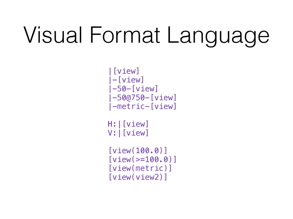 Visual Format Language |[view] |-[view] |-50-[v...