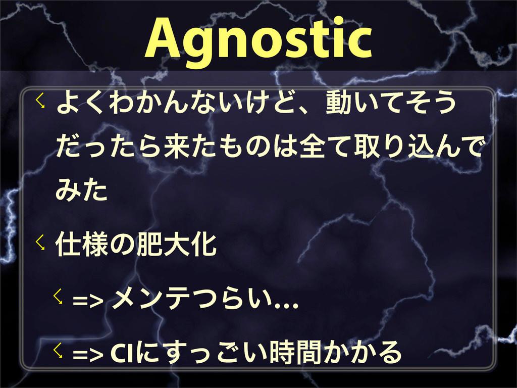 Agnostic ☇Α͘Θ͔Μͳ͍͚Ͳɺಈ͍ͯͦ͏ ͩͬͨΒདྷͨͷશͯऔΓࠐΜͰ Έͨ ☇...