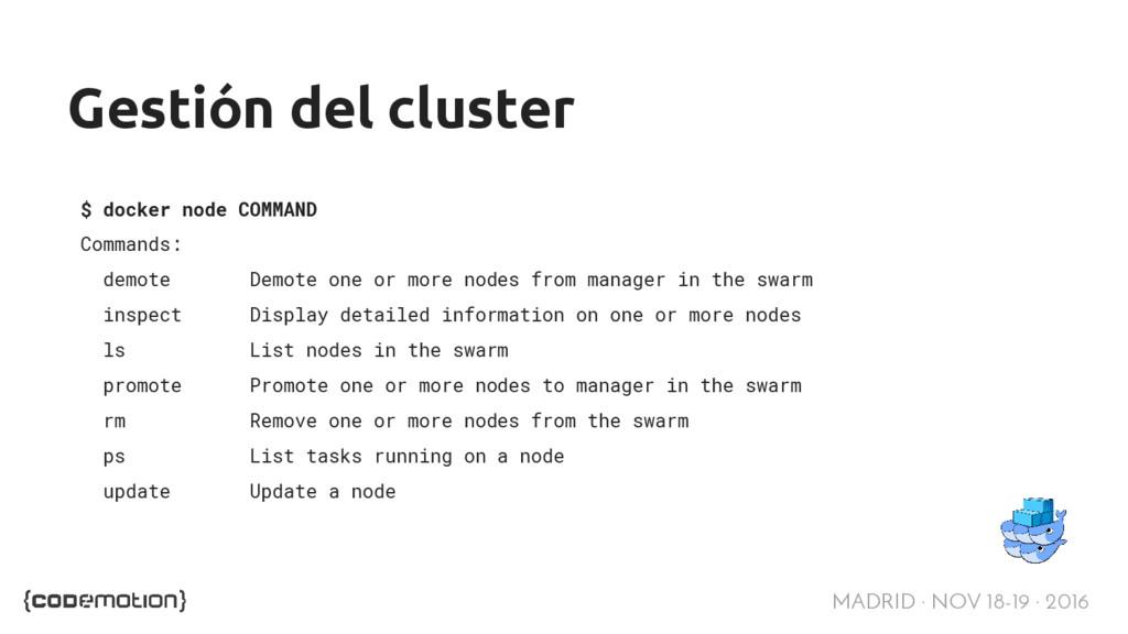 MADRID · NOV 18-19 · 2016 Gestión del cluster $...
