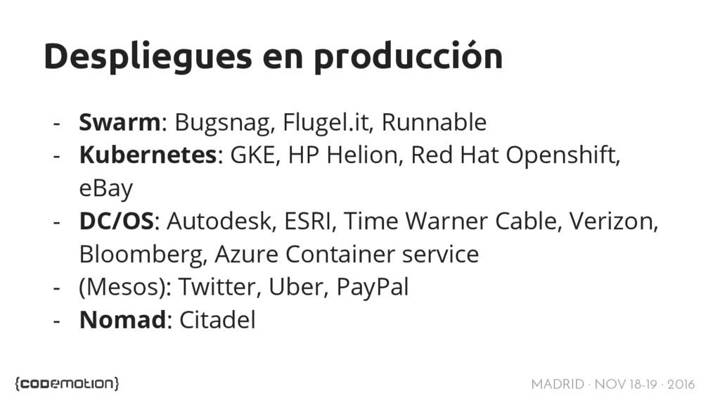 MADRID · NOV 18-19 · 2016 Despliegues en produc...