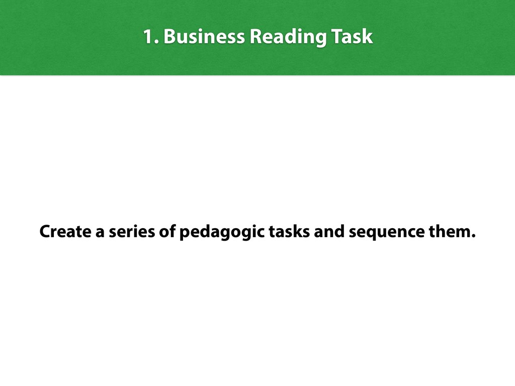 1. Business Reading Task Create a series of ped...