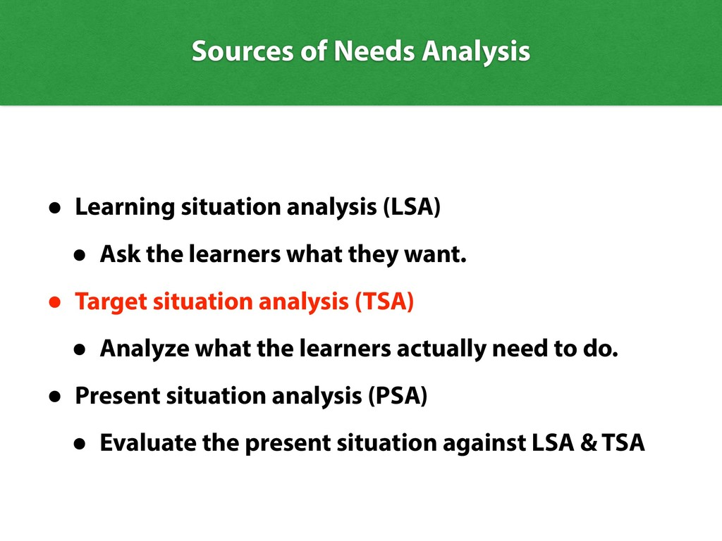 Sources of Needs Analysis • Learning situation ...