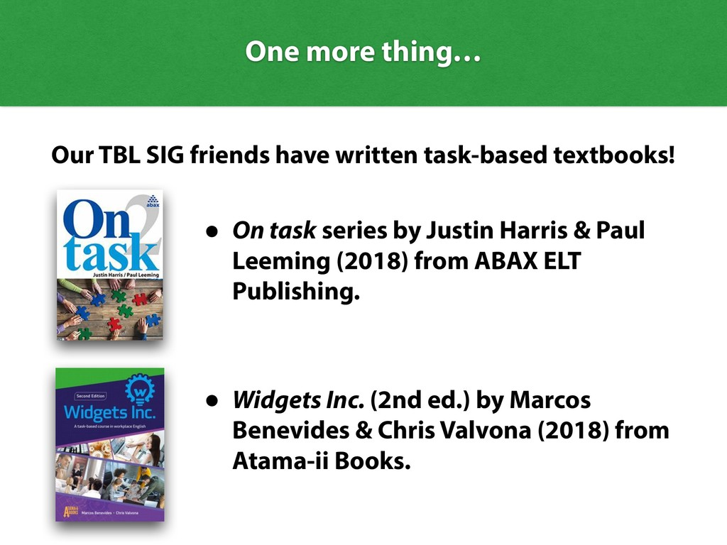 One more thing… Our TBL SIG friends have writte...