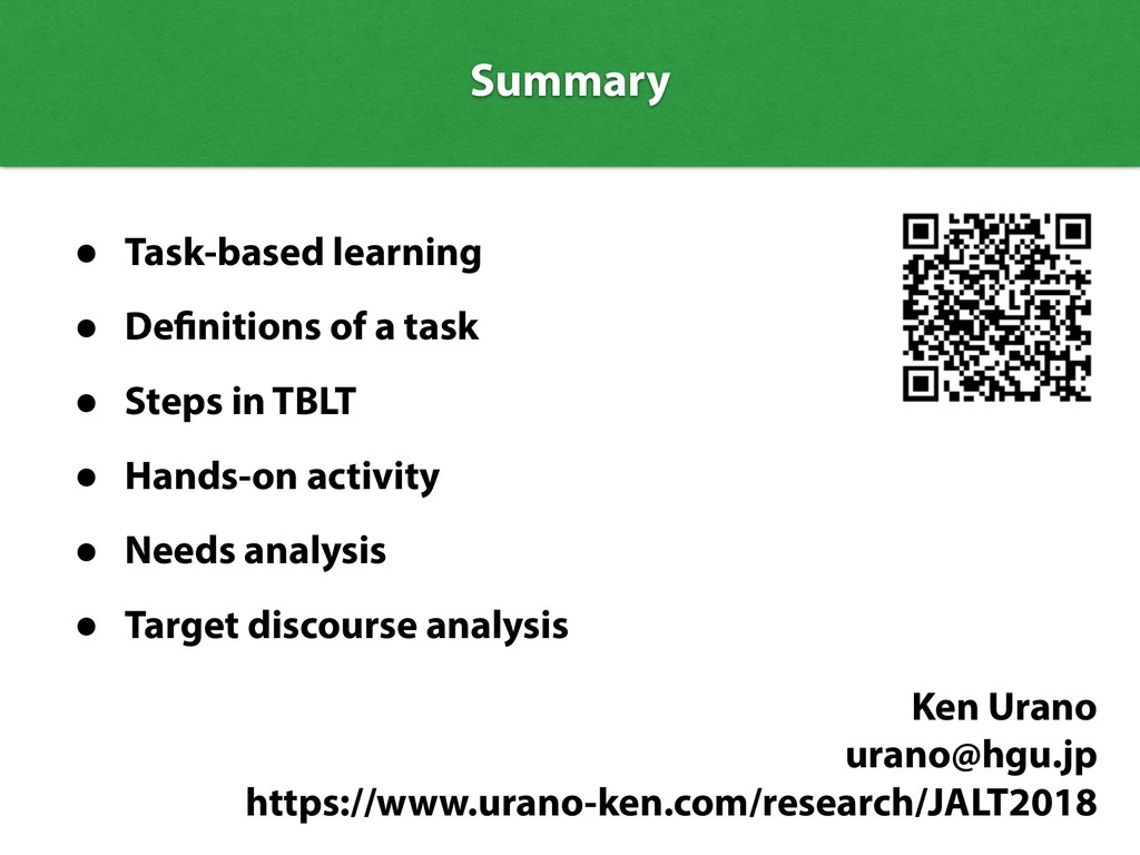 Summary Summary • Task-based learning • Definit...