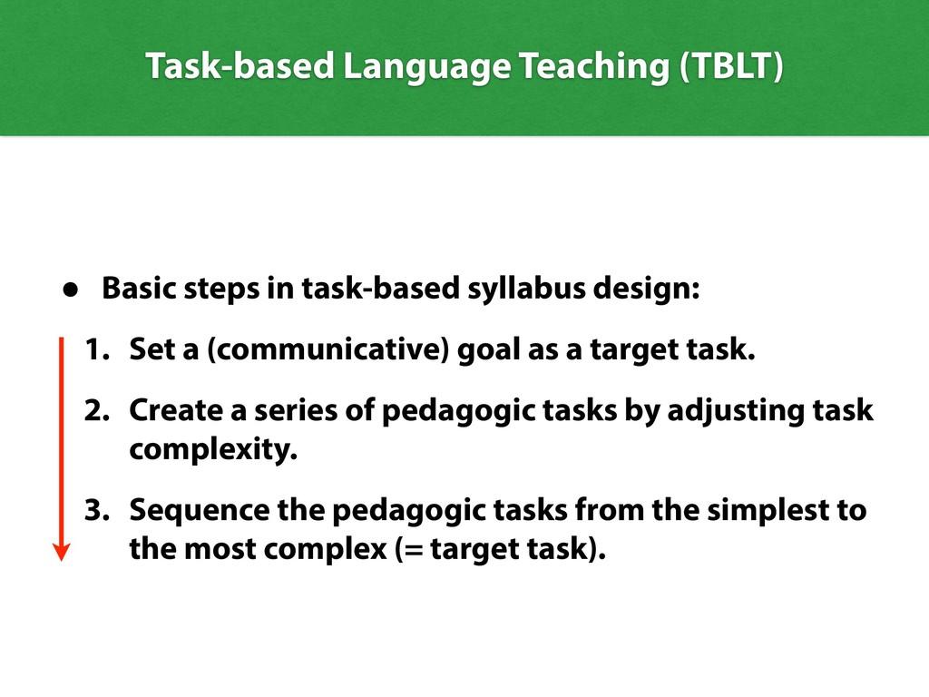 Task-based Language Teaching (TBLT) • Basic ste...