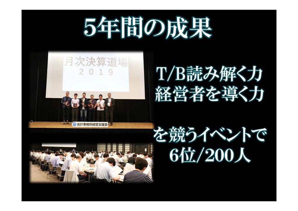 5年間の成果 T/B読み解く力 経営者を導く力 を競うイベントで 6位/200人