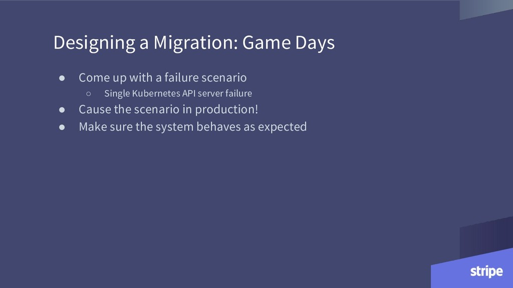 Designing a Migration: Game Days ● Come up with...