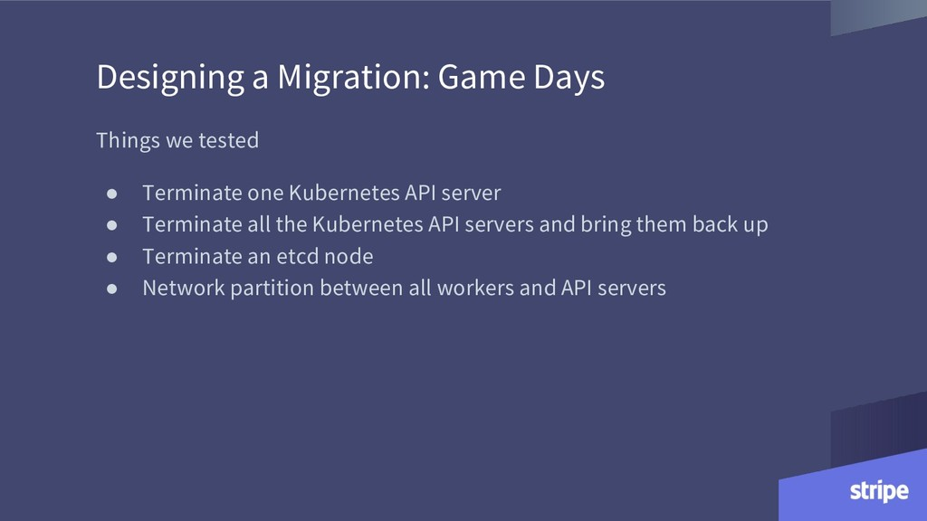 Designing a Migration: Game Days Things we test...
