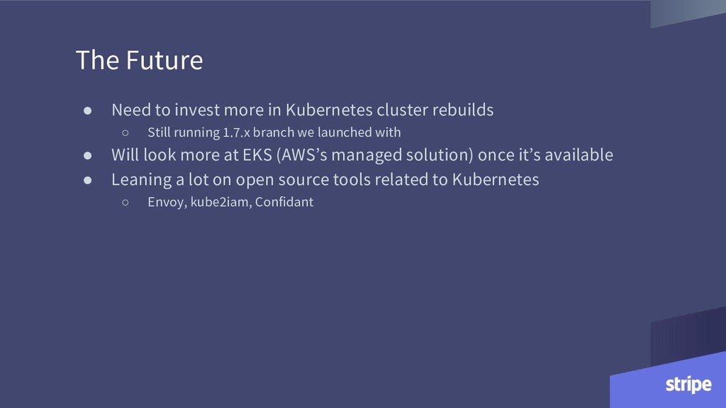 The Future ● Need to invest more in Kubernetes ...