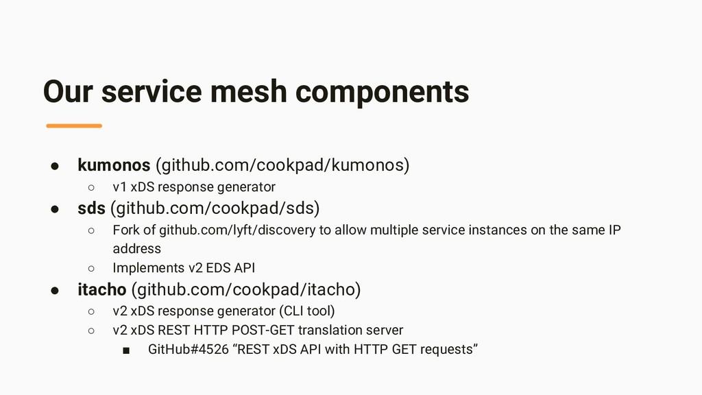 Our service mesh components ● kumonos (github.c...