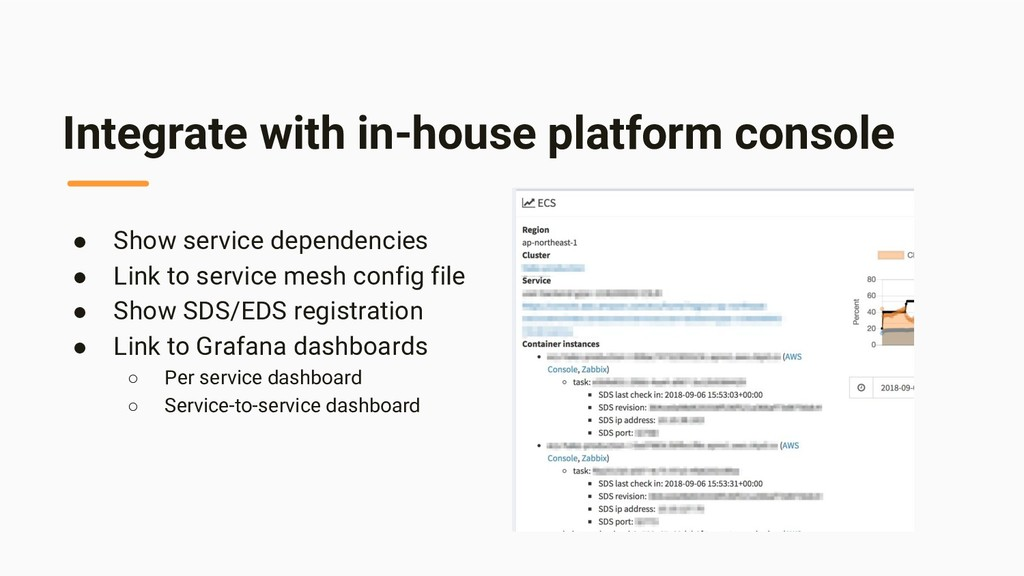 Integrate with in-house platform console ● Show...